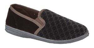 Zedzzz KEVIN Textile Twin Gusset Indoor Full Slippers UK6 -16 Big size Brown Ve supplier