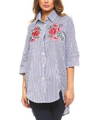 Lunga Camicia Taglia 14 Blu E Bianco A Righe Donna Cotone Camicetta-mostra Il Titolo Originale Vari Stili
