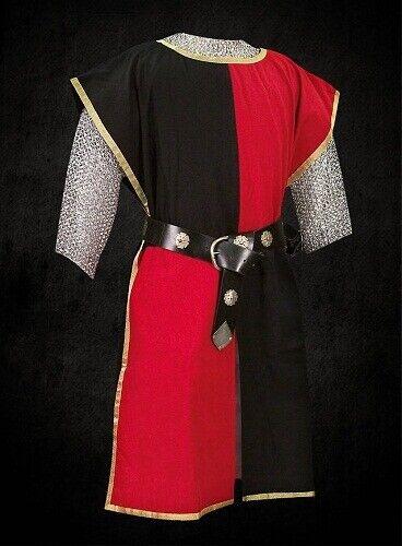 MEDIEVAL Black & Red Knight Tunic Surcoat Sleeveless Renaissance LARP Costume