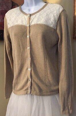 Liz claiborne Lizwear jeans Rockabilly Tan & Lace Cardigan PIN UP Size M New WOT