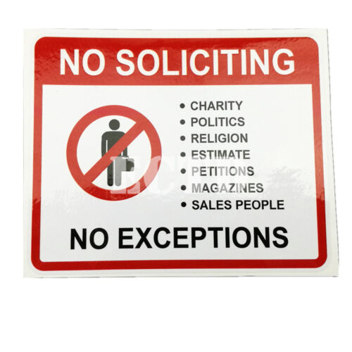 4 No Soliciting Solicitors sales trespassers sign signs decal sticker 125x102mm