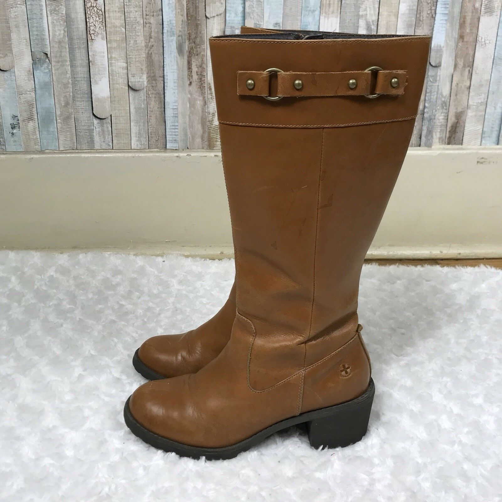 Dr Martens 6 Rare Cognac Brown Leather Tall Knee High Marcella Riding Boot Doc