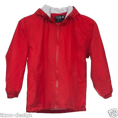 Children Kids Raincoat Windbreaker Jacket Red Towel Lined Size 5-6
