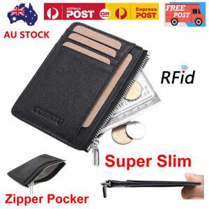 Mens-RFID-Blocking-Flip-Leather-Wallet-Slim-Credit-Card-zipper-Holder-Money-Clip