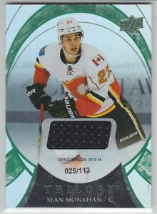 2015-16-UD-TRILOGY-SEAN-MONAHAN-JERSEY-113-GAME-USED-Debut-Foil-Green-Flames