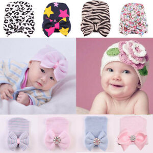 f5676780c75 Newborn Baby Girls Toddler Stripe Hospital Cap Infant Comfy Bowknot ...