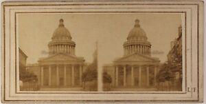 Il-Pantheon-c1858-Parigi-Francia-Foto-L-F-Stereo-Albumina-Vintage