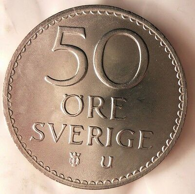 UNCIRCULATED FREE SHIP From Original Mint Roll BIN B 1972 SWEDEN 50 ORE