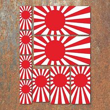 Rising Sun Japanese Flag Laminated Sticker Set Car Motorcycle Honda Yamaha A5