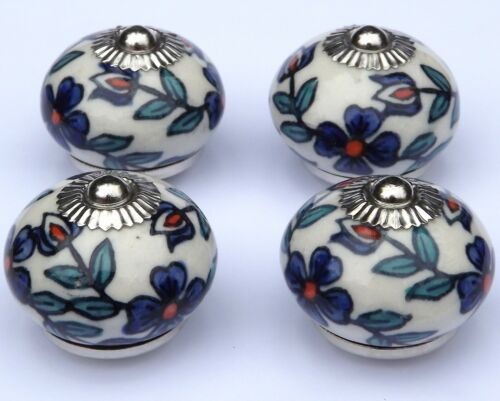 ceramic knobs Cream round with Slate Blue flowers /& Teal leaves  x 4 chrome