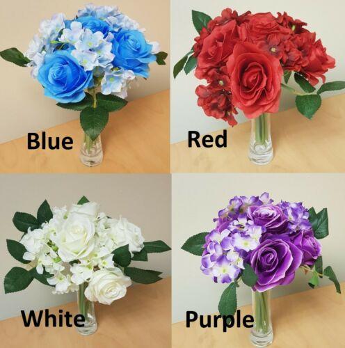 Artificial Rose Hydrangea Bouquet Flowers Floral Valentine Ivy Wedding Fern