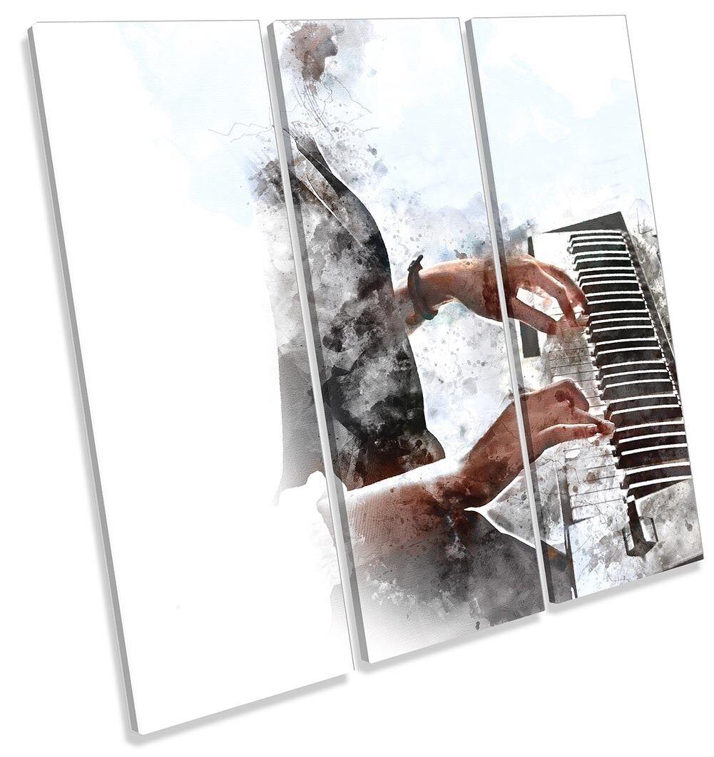 Playing Piano Piano Piano Grunge TREBLE CANVAS WALL ARTWORK Print Art ebd36b