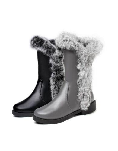 Details about  /Women/'s Mid-calf Boots Fur Trim Low Heel Booties Round Toe Warm Shoes Side Zip