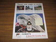 1945 Print Ad Corby's Whiskey Magic in Mink Fur Coat Peoria,IL
