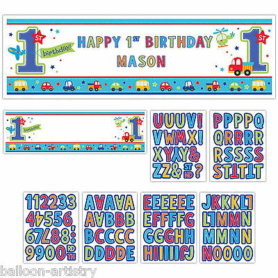 1.65m Giant All Aboard Blue Boy's 1st Birthday Party Personalisable Sign Banner