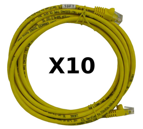 Cat5e Ethernet Patch Cable 21 Ft RJ45 Computer Networking Cord Made in USA, Yellow