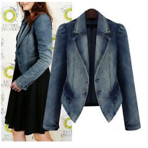 Plus-Size-Fashion-Lapel-Women-Casual-Denim-Zipper-Blazer-Vintage-Jeans-Jacket