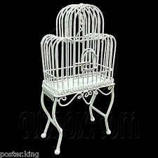 White Wire Floor Bird's Cage Birdcage 1/12 Doll's House Dollhouse Miniature