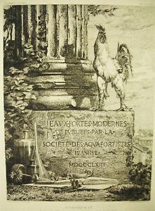 Jules Ferdinand Jacquemart 1873 Frontispice A Cadart Ed Eau Forte Coq Français Par Processus Scientifique