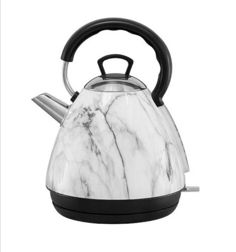 New 1.7 L White Marble Electric Cordless Kettle Kitchen Fast Boil Home Office