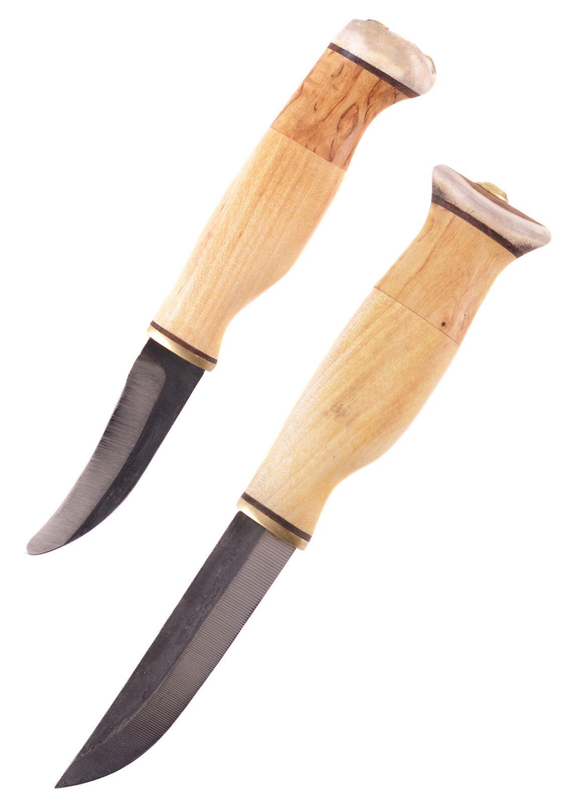 Doppelmesser mit Skinner, Wood-Jewel - Finnenmesser Sami Messer Jagdmesser
