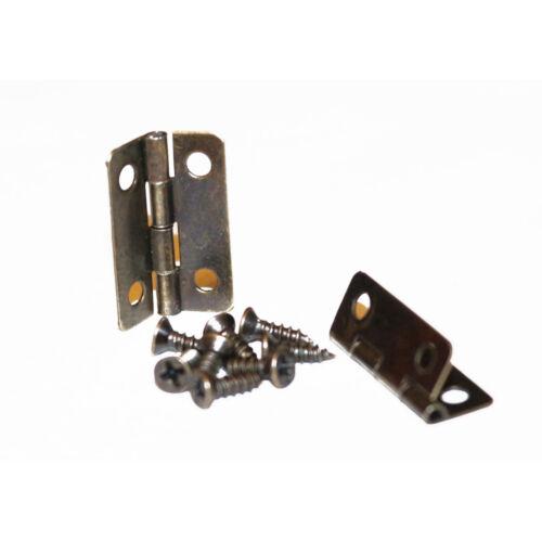 Pair of rectangular bronze tone hinges 22mm x 15mm with screws