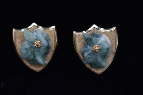 Vintage Green Stone Marble CuffLinks Roman Knight