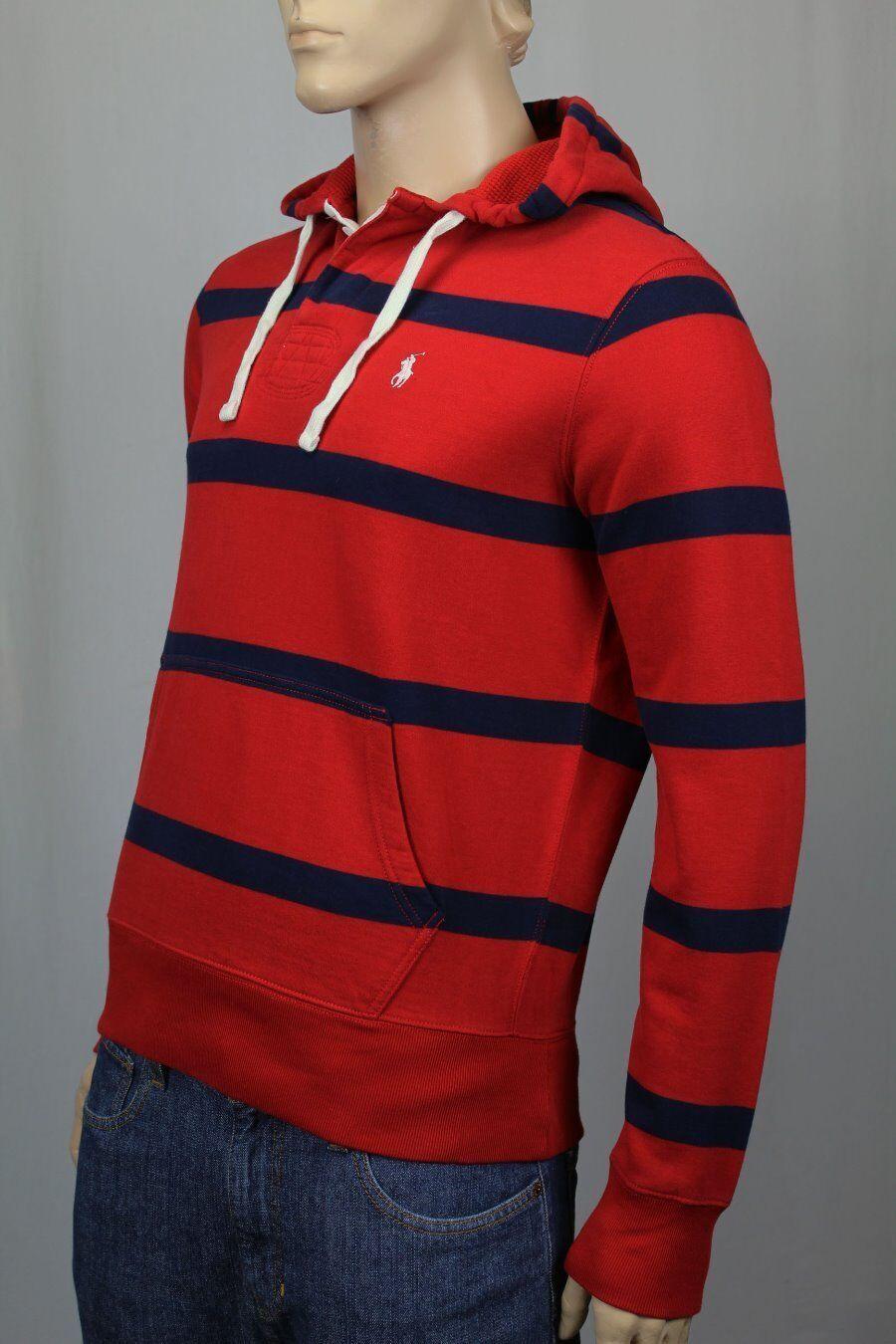 Polo Ralph Lauren rot Navy Rugby Hoodie Sweatshirt Weiß Pony NWT