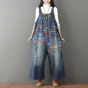 d6b97a8c4fe7 Women Denim Loose Floral Overall Jeans Baggy Jumpsuit Harem Trousers ...