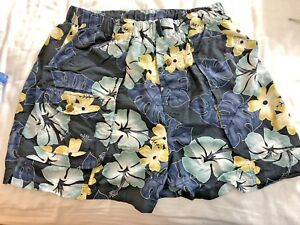 Mens-Tommy-Bahama-Relax-navy-blue-floral-Swim-Trunks-XL-3-front-1-back-pockets