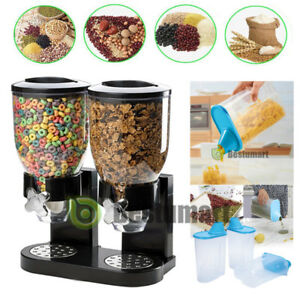 DOUBLE CEREAL DISPENSER DRY FOOD STORAGE CONTAINER DISPENSER MACHINE