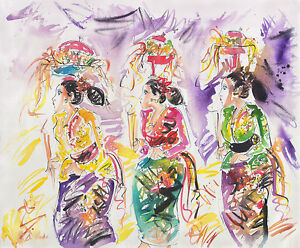 Hand-painting-Balinese-Bali-Prayer-Procession-Abstract-232