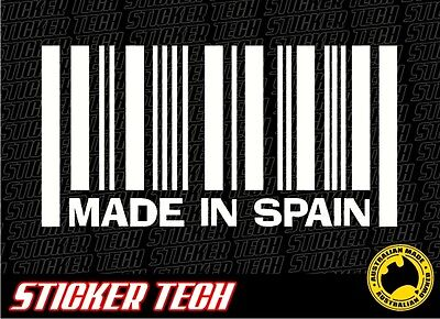 MADE IN SPAIN WINDOW BUMPER STICKER DECAL SUITS SEAT HURTAN SUNRED TRAMONTANA