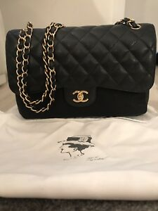 7bf3b390788a Image is loading Mint-CHANEL-Quilted-Maxi-Classic-Handbag-Grained-Calfskin-