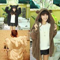 Women Girl Winter Warm Cute Cartoon Bear Ear Hoodie Baggy Outerwear Jacket Coat
