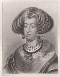 Marie-d-039-Autriche-Imperatrice-d-039-Allemagne-Reine-de-Hongrie-Boheme-Gravure-XIXe