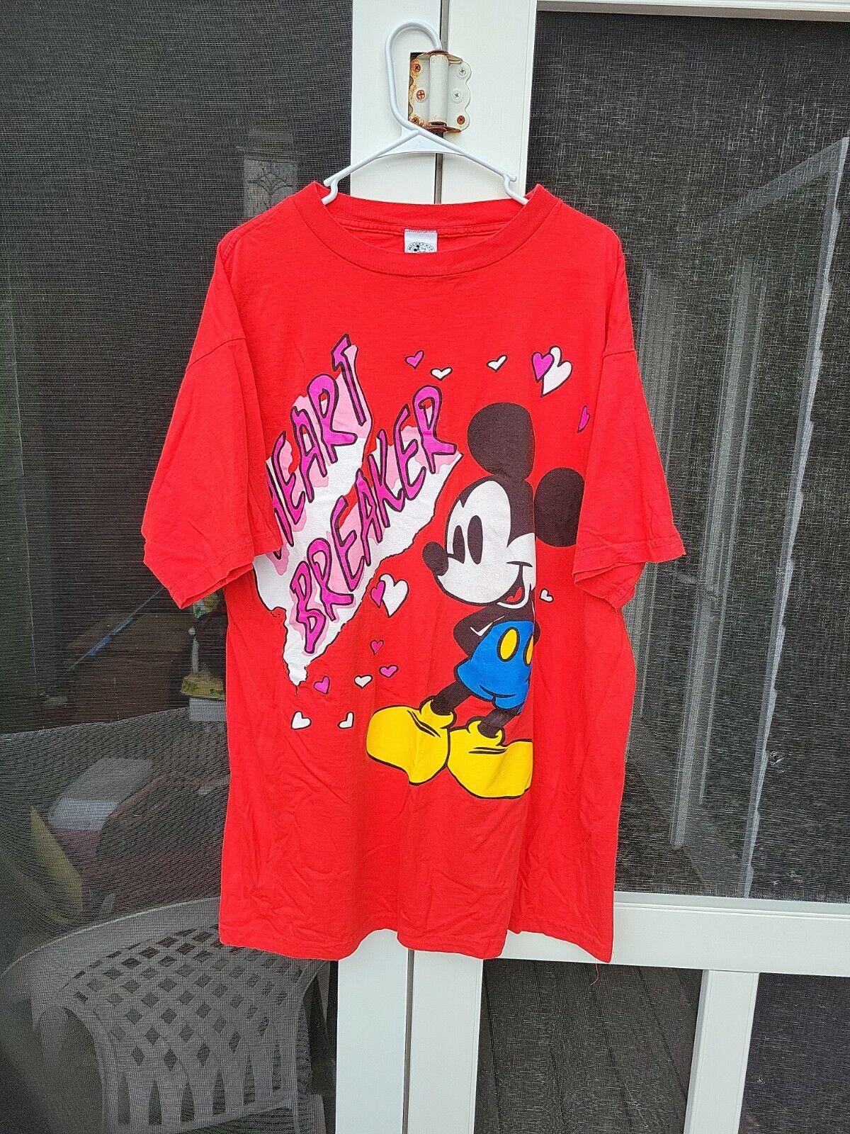 Vintage Disney Mickey & Co T Shirt Mens XL XXL Valentines Day Hearts 90s