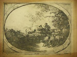 Gilles Demarteau Le Soir D'ap Jean-baptiste Huet Portefeuille De Mr Nera 1770 Marchandises De Proximité