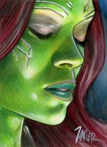 Avengers-GAMORA-Zoe-Saldana-Guardians-MARVEL-SKETCH-Card-PRINT-1-of-10-ART
