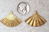Vintage Brass Fan Charms Stampings Findings With Ring 8 Pieces Old Charms
