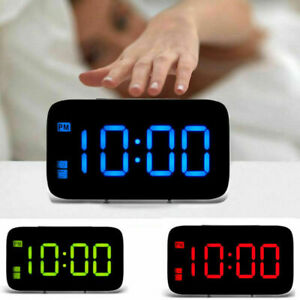 USB Large Digital LED Alarm Snooze Clock Voice Control Time