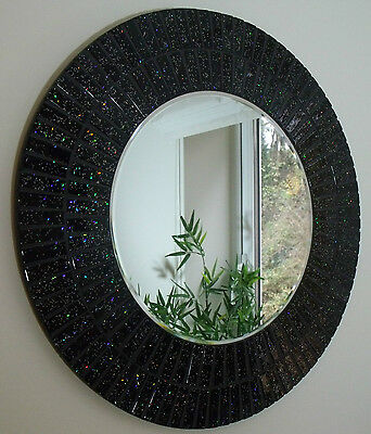 BEAUTIFUL HANDMADE GLITTER BLACK SPARKLE MOSAIC BATHROOM MIRROR