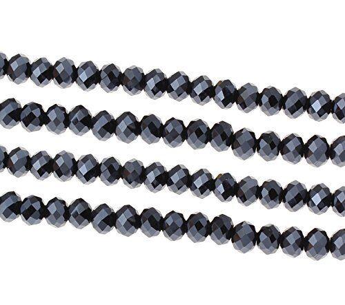 60 perles de verre Metallic Noir 8x6mm Rondell Tchèque Cristal À faire soi-même x190#3