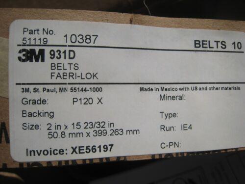 """3M 931D Cubitron Belts Size 2/"""" in X 15-23//32 /""""  in long Lot of 10  Grade P120X"""