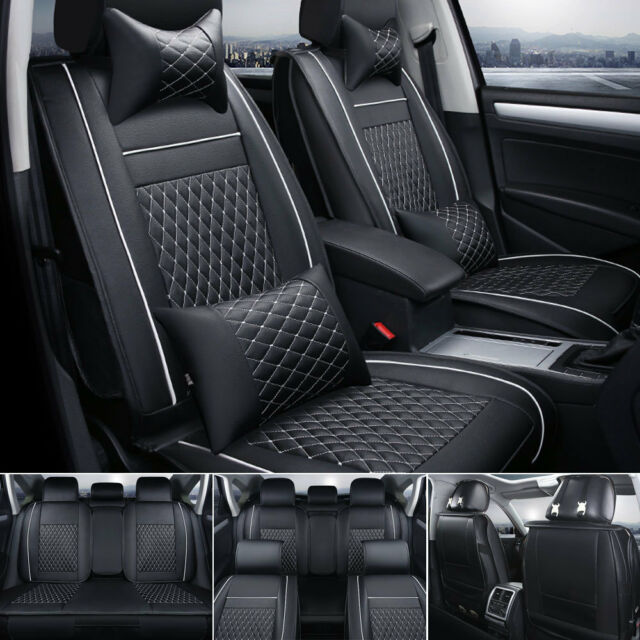 US 100% PU Leather Seat Cover Size M 5-Seats Car SUV Front&Back Full Cushion Set
