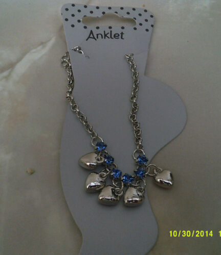 """anklets silver colour with hearts and diamantee in 3 colours size 7.50/"""" ext 2/"""""""