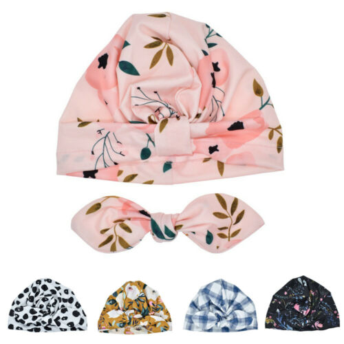 Infant Hat Cap Turban Girls Toddler Knotted Printed Bowknot Comfortable Cute