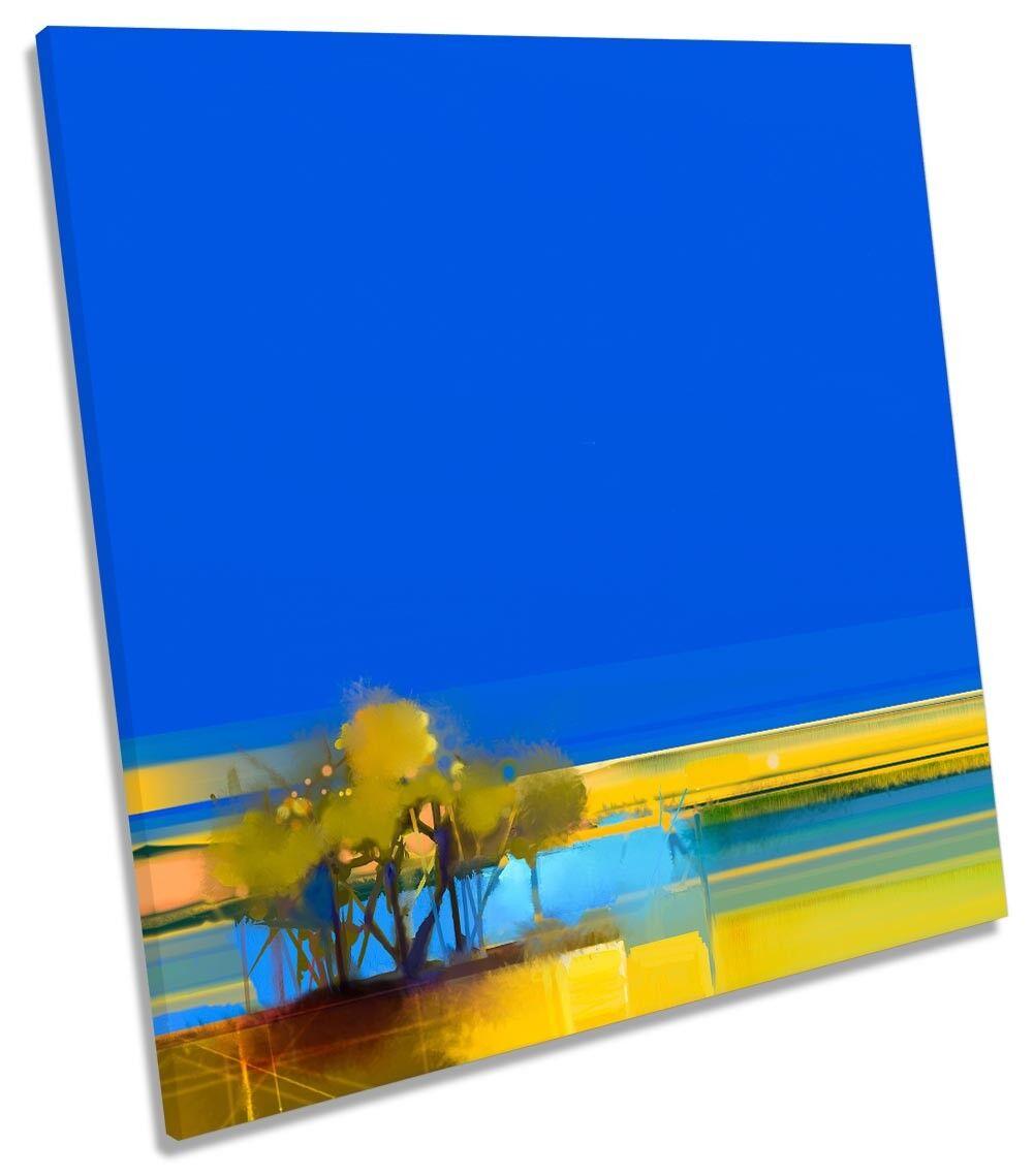Blau Landscape Abstract Gelb Gelb Gelb CANVAS WALL ARTWORK Square Art Print 10e144