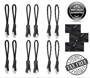 Nylon Cord Zipper Pulls with Non-Slip Gripper,Black,Pack of 12