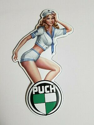 "PORCELAIN ENAMEL SIGN EMAILLE 4x8/""=10x20cm! CLASSIC PINUP GIRL PIAGGIO VESPA"